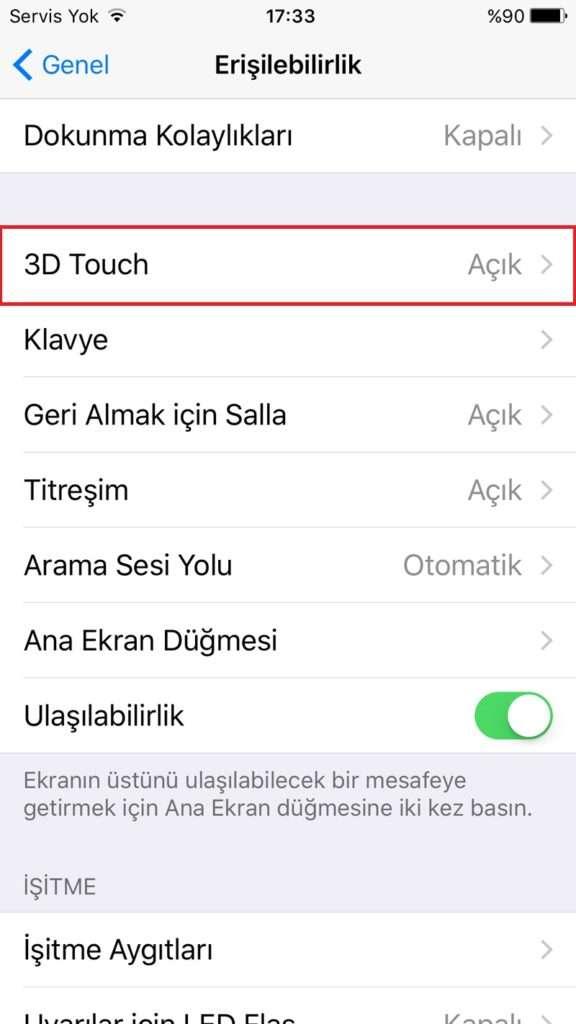 3D Touch iPhone'un ekranına uygulanan basıncı algılıyor.