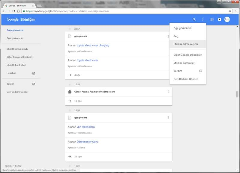Sizde Google arama geçmişinizdeki tüm kayıtları temizleyebilirsiniz.