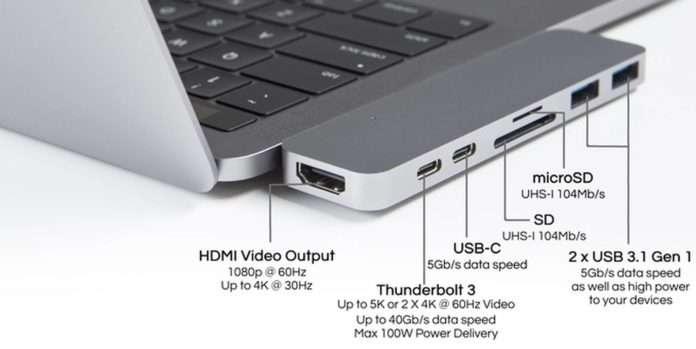 MacbookPro 2017 versiyonu için ek port sağlayıcı üretildi.