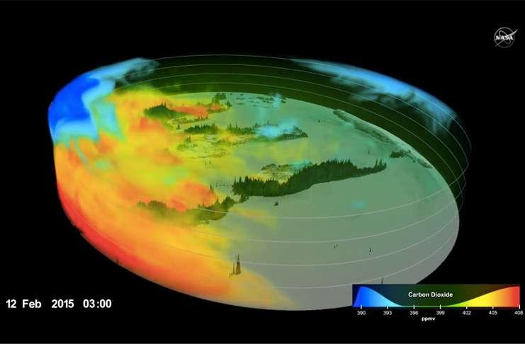 NASA'nın 3D videosu, CO2'nin atmosferde nasıl yayıldığını gözler önüne serdi