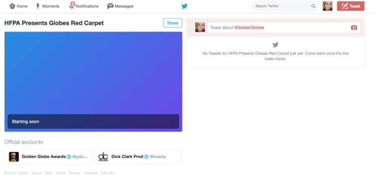 Twitter Altın Küre ödüllerinde canlı yayın yapacağını duyurdu