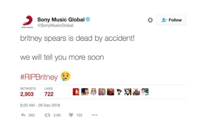 Sony Music Twitter hesabından, Britney Spears'ın öldüğünü duyurdu