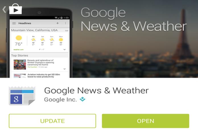 Google'ın yeni 'Haberler ve Hava Durumu' uygulamasını