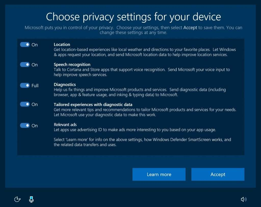 Windows Creators Update Gizlilik Ayarları
