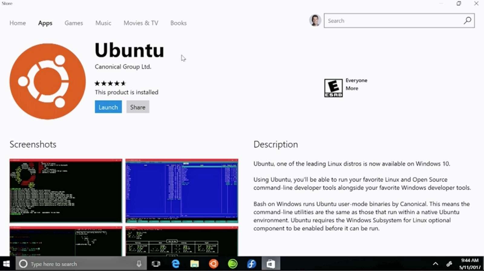 Ubuntu Windows versiyonu