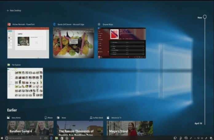 Windows Timeline cihazlar arası geçiş