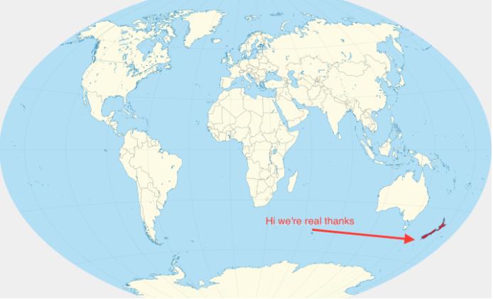 Dünya Haritası- Yeni Zelanda