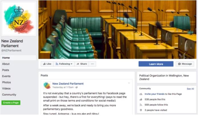 Yeni Zelanda Parlamentosu Facebook Hesabı