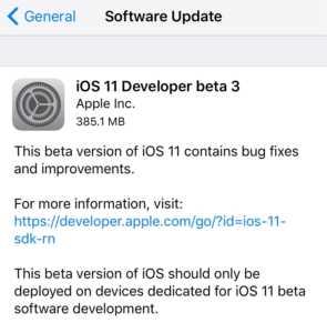 Geliştiriciler için iOS 11 Beta 3 yayınlandı